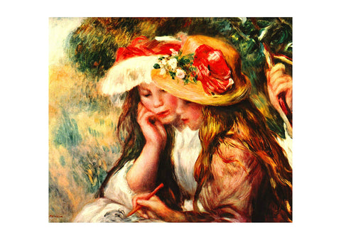 Pierre Auguste Renoir Two Girls Drawing