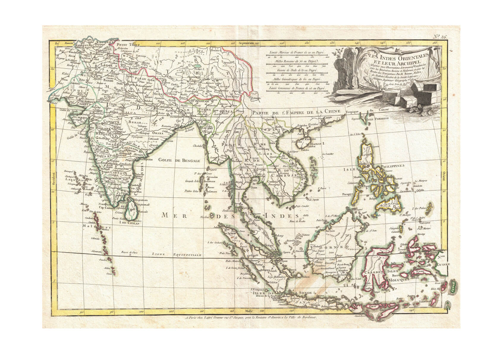 Southeast Asia The East Indies India Map Bonne 1770