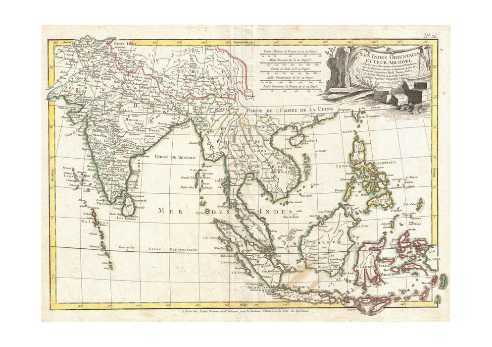 image relating to Printable Map of Southeast Asia called Southeast Asia The East Indies India Map Bonne 1770