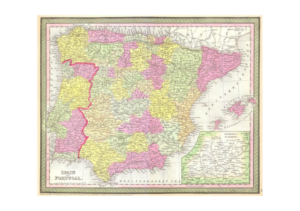 Spain and Portugal Map Mitchell 1850