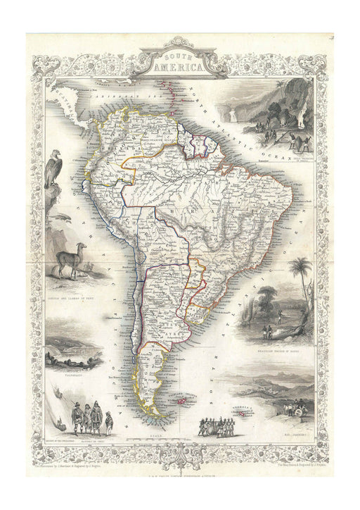 Tallis Map of South America 1850