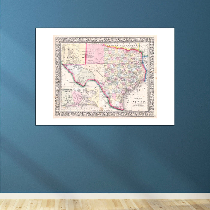 Texas Map Mitchell 1864