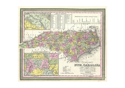 Thomas Eakins - Mitchell Map of North Carolina showing Gold Regions