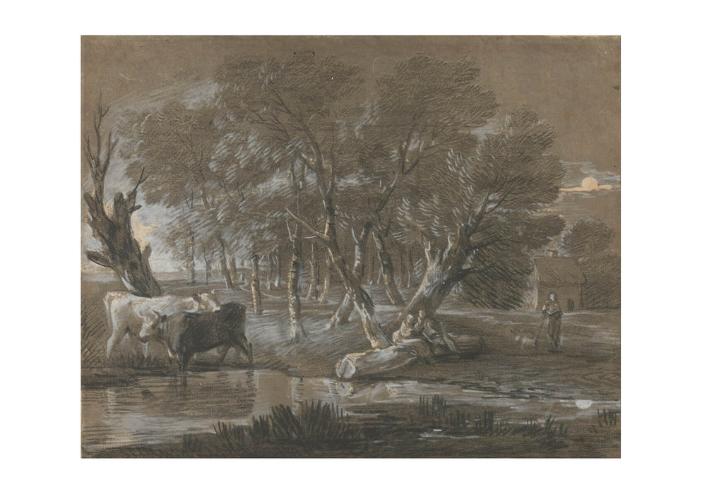 Thomas Gainsborough - A Moonlit Landscape with Cattle