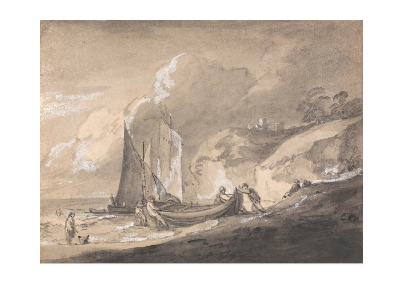 Thomas Gainsborough - Coastal Scene with Figures and Boats