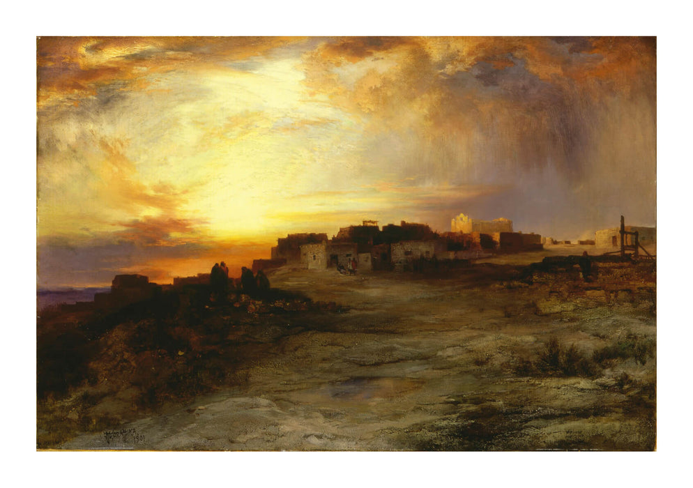 Thomas Moran - Pueblo at Sunset