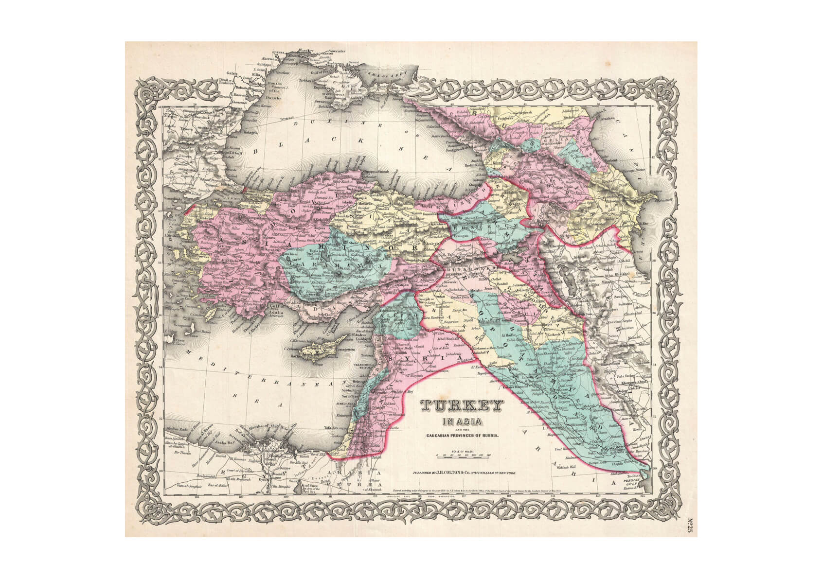 Turkey, Iraq and Syria Map Colton 1855