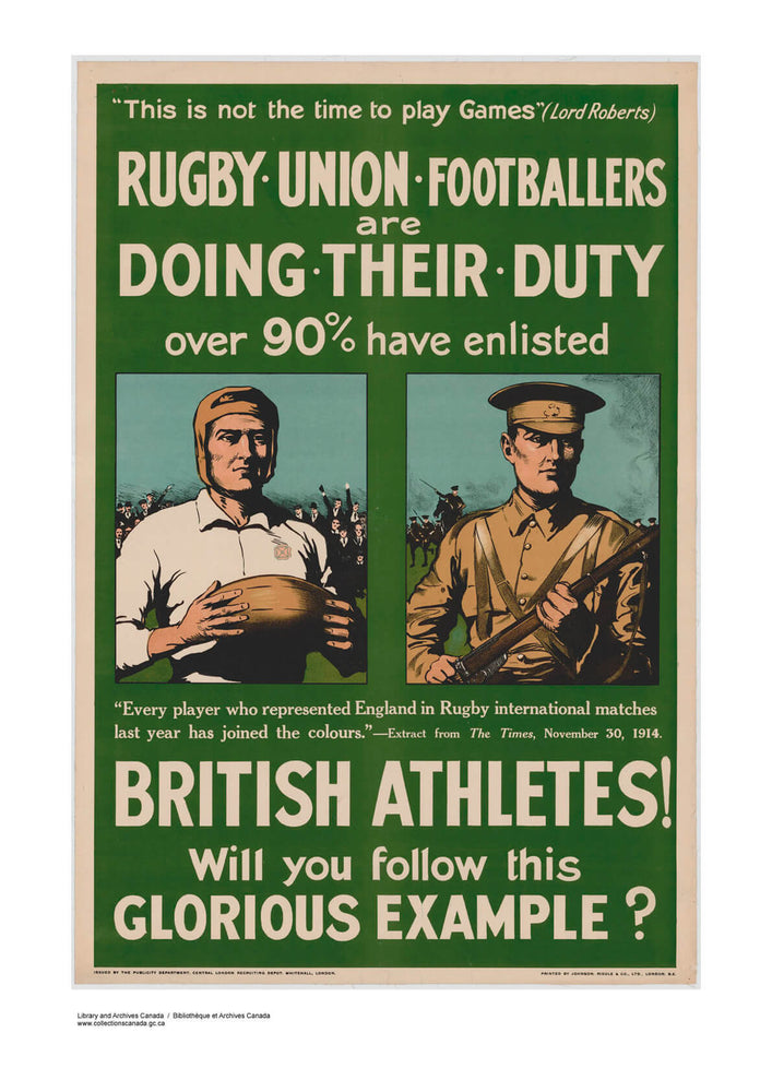 WWI British Rugby Football Athletes Recruitment Poster
