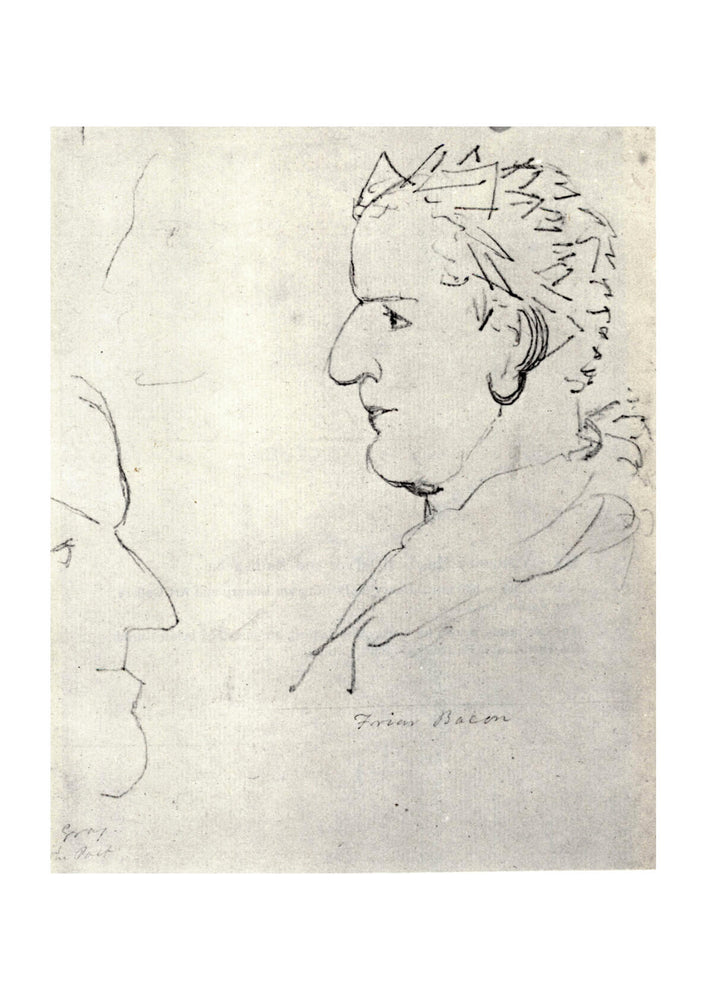 William Blake - Heads of Friar Roger Bacon and Poet Gray