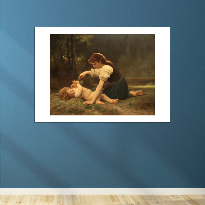 William Bouguereau - Nature's Fan- Girl with a Child (1881)