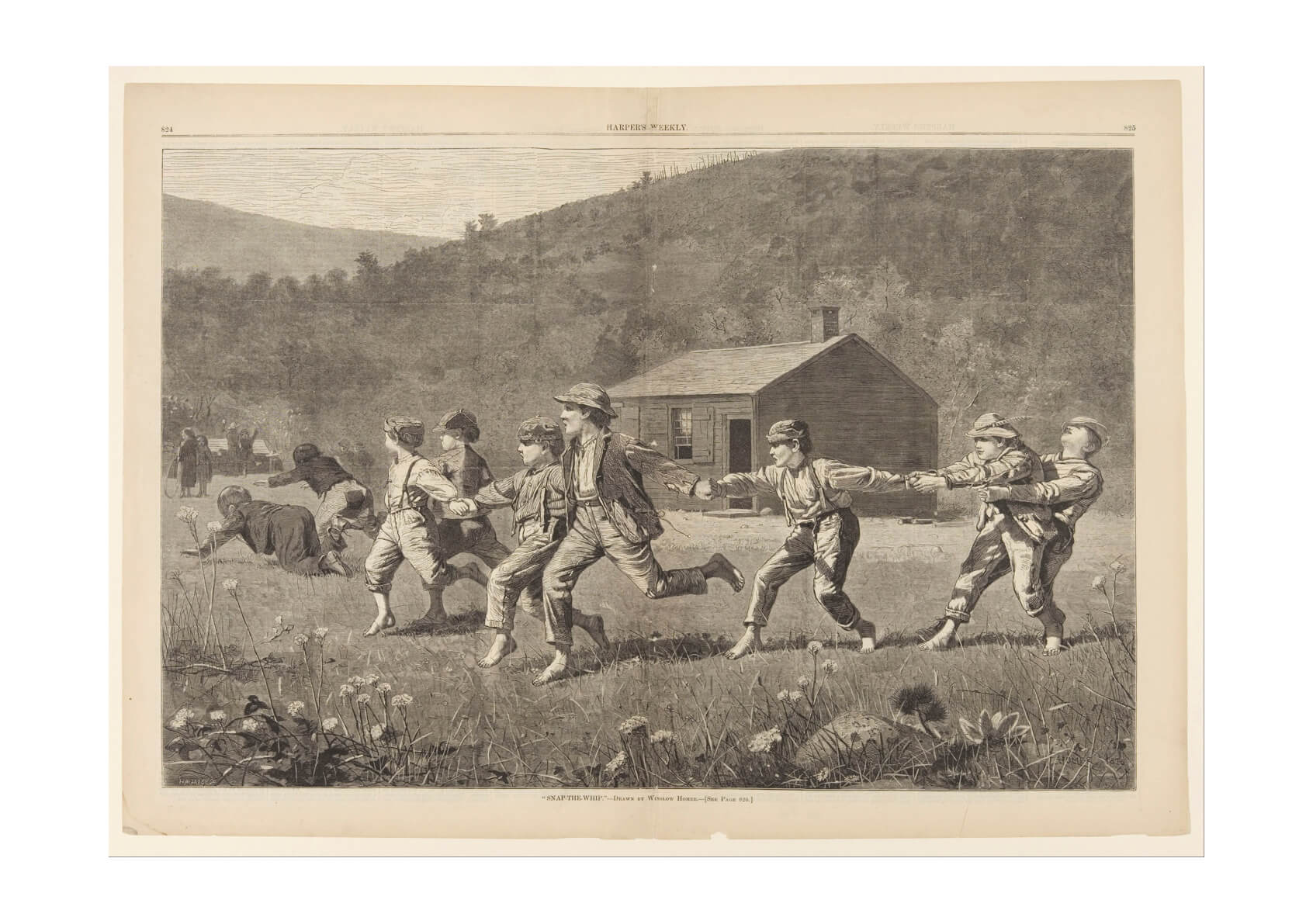 Winslow Homer - Snap the Whip Grey Scale