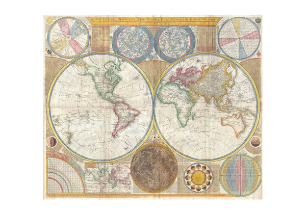 World Map in Hemispheres Samuel Dunn 1794