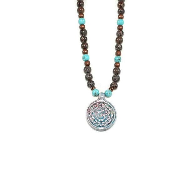 Ceramic Om Pendant Gemstone Beaded Necklace - Lari's Jewelry Designs - 3