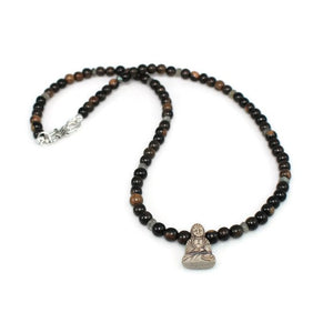 Tiger Ebony Wood Necklace with Buddha Pendant