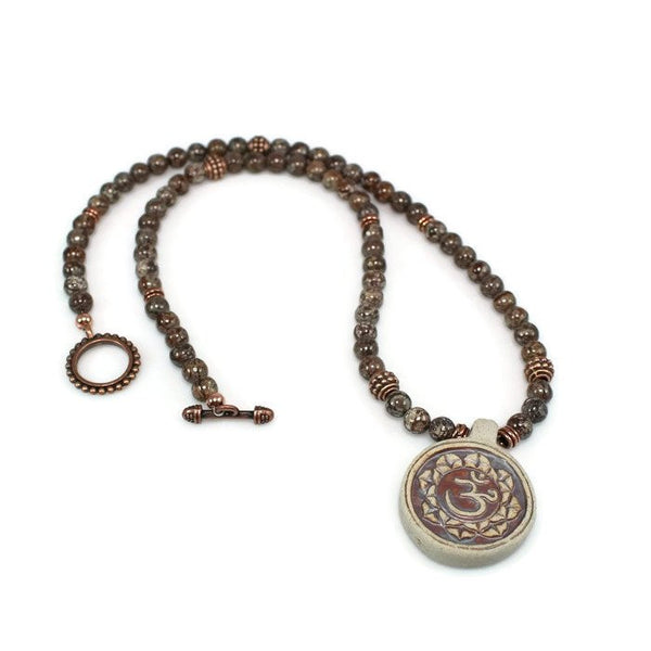 Spiritual Ceramic Om Beaded Gemstone Necklace