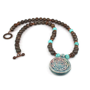 Ceramic Om Pendant Gemstone Beaded Necklace Necklace - Lari's Jewelry Designs