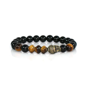 Black Onyx and Tiger Eye Brass Buddha Men's Bracelet Bracelet - Lari's Jewelry Designs