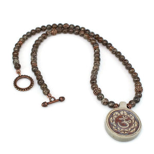 Spiritual Ceramic Om Beaded Gemstone Necklace Necklace - Lari's Jewelry Designs