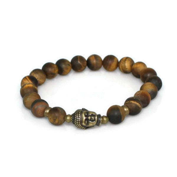 Men's Buddha Bracelet with Matte Tiger Eye Gemstone Beads
