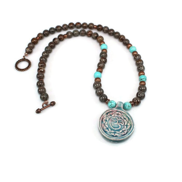 Ceramic Om Pendant Gemstone Beaded Necklace