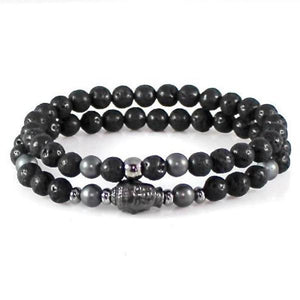 Buddha Lava Bead and Hematite Yoga Bracelet Set