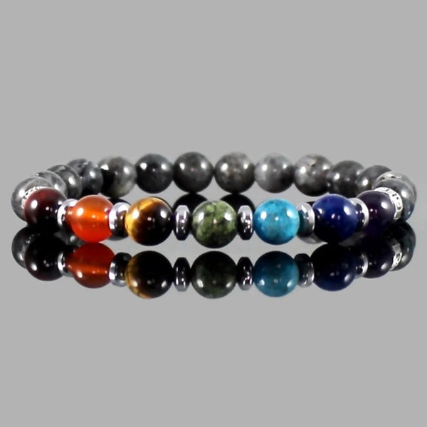 7 Chakra Gemstone Bracelet with Black Labradorite
