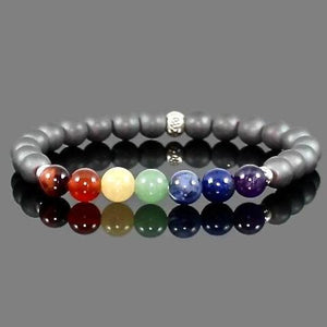 Men's 7 Chakra Bracelet with Hill Tribes Silver and Hematite