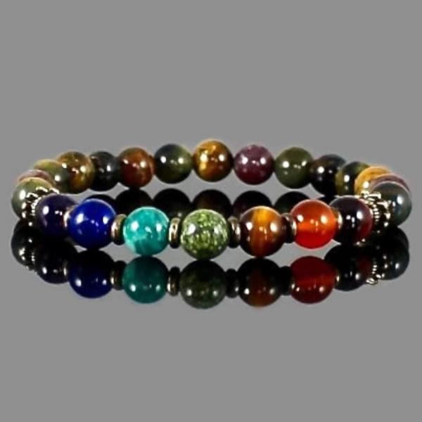 7 Chakra Balancing Gemstone Bracelet with Pietersite