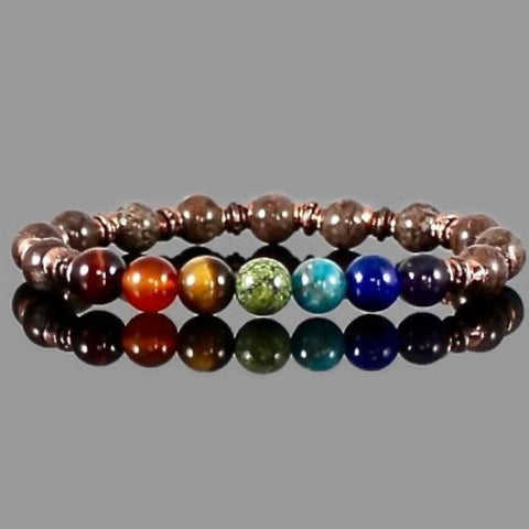 Gemstone Chakra Bracelet with Copper Accents