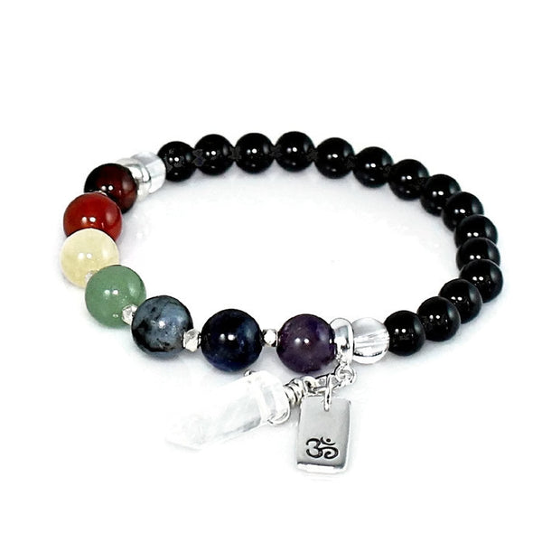 Women's Chakra Bracelet with Quartz Crystal Charm