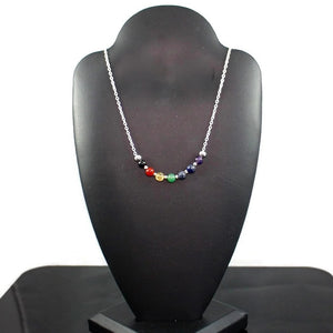 7 Chakra Gemstone Necklace with Sterling Silver Chain