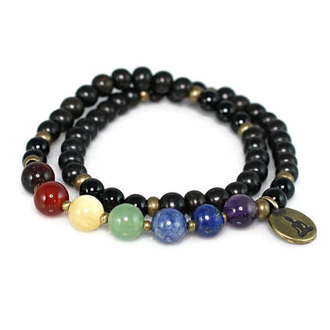 Chakra Balancing Ebony Wood and Onyx Stretch Wrap Bracelet