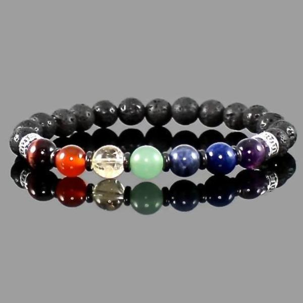 7 Chakra Gemstone Bracelet with Lava Rock