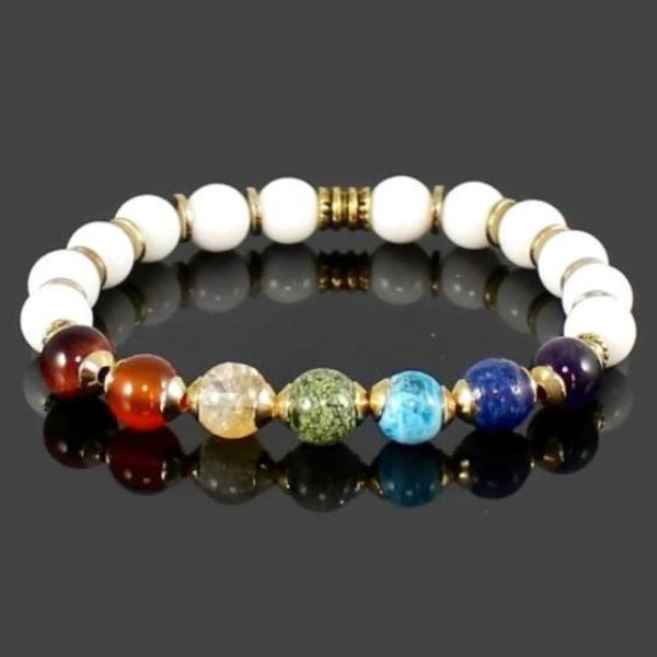 Gold Accented 7 Chakra Gemstone Bracelet with White Jade