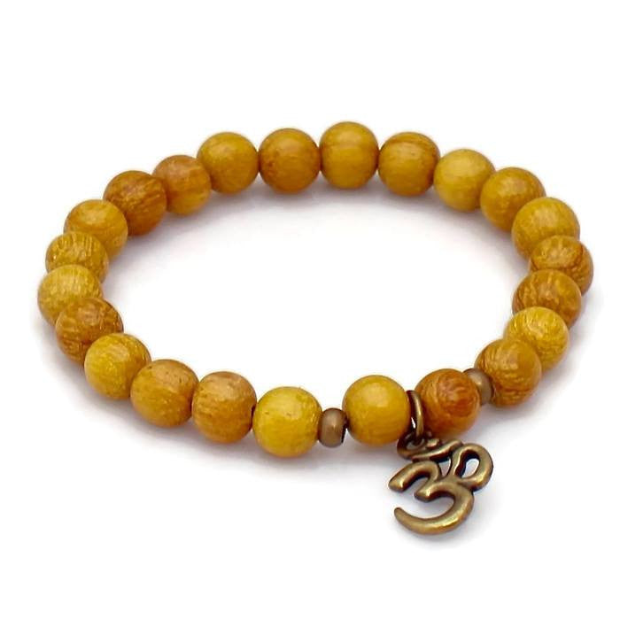 Brass Om and Nangka Wood Wrist Mala Bracelet - Lari's Jewelry Designs