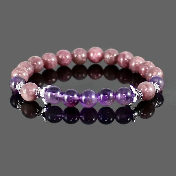 Lepidolite and Amethyst Calming Yoga Bracelet