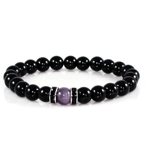Amethyst and Black Obsidian Yoga Bracelet Bracelet - Lari's Jewelry Designs