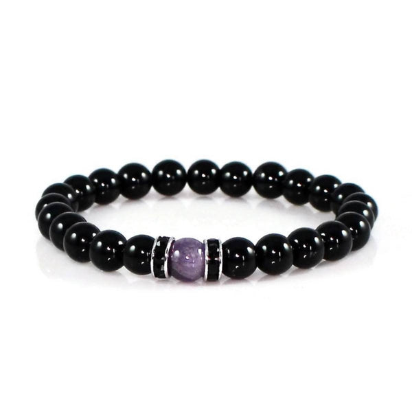 Amethyst and Black Obsidian Yoga Bracelet