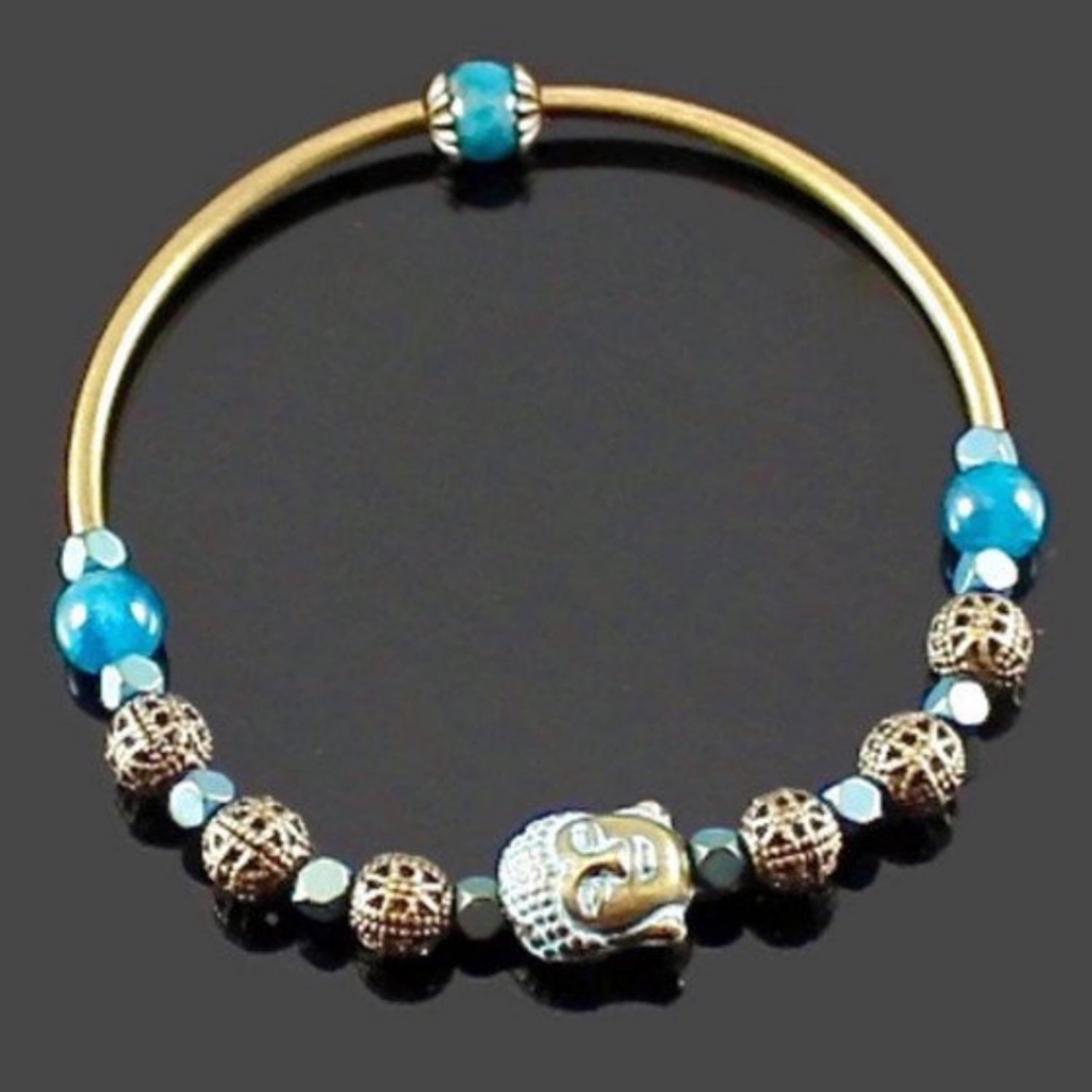 Women's Apatite Buddha Stretch Bangle Bracelet