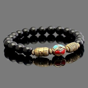 Black Onyx Yoga Bracelet with Tibetan Focal Bead | Lari's Jewelry Designs