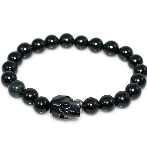 Men's Black Crystal Skull Bracelet Bracelet - Lari's Jewelry Designs