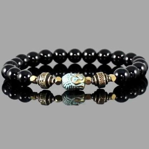 Tibetan Buddha Bracelet with Black Onyx Beads