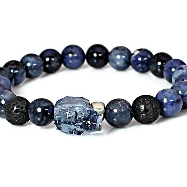Men's Blue Crystal Skull Bracelet, Blue Dumortierite