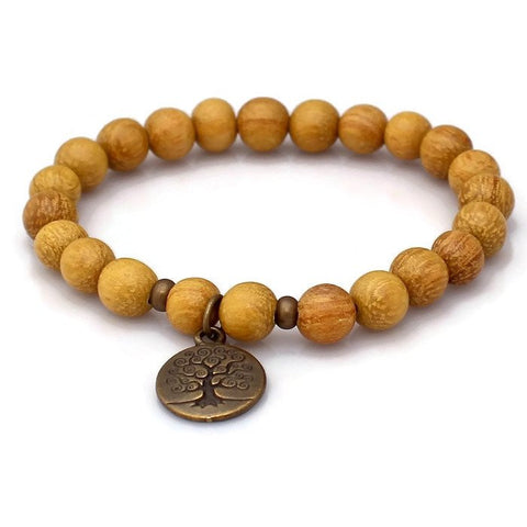 Brass Tree of Life Nangka Wood Wrist Mala Bracelet Bracelet - Lari's Jewelry Designs