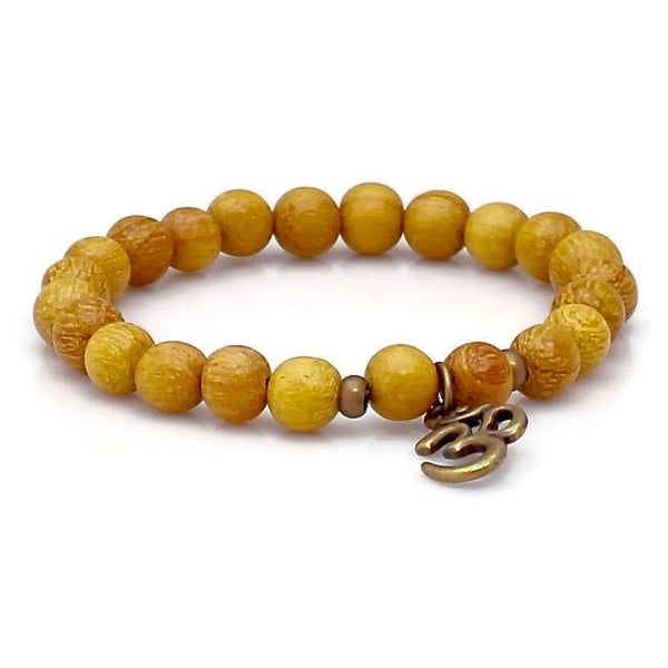 Brass Om and Nangka Wood Wrist Mala