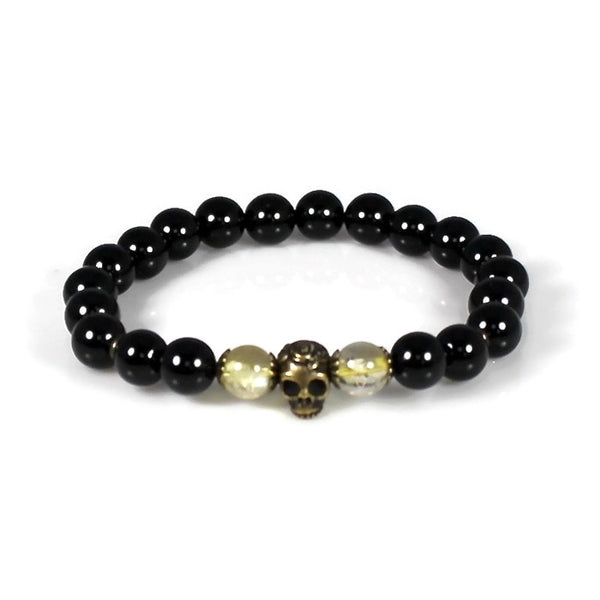 Black Onyx and Citrine Skull Good Luck Rocker Bracelet