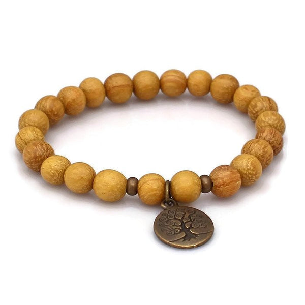 Brass Tree of Life Nangka Wood Wrist Mala Bracelet