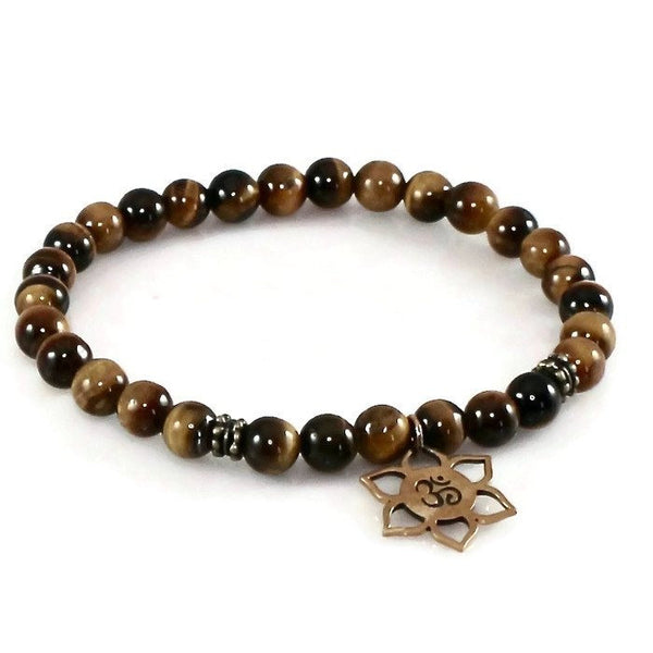 Tiger Eye Bracelet with Natural Bronze Lotus, Om Charm