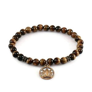 Natural Bronze Lotus Flower Bracelet with Tiger Eye