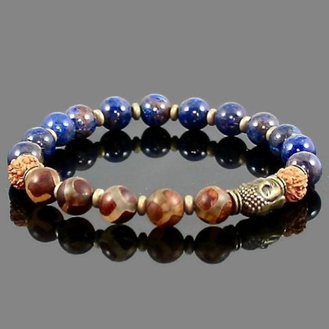 Tibetan Dzi Buddha  Bracelet with Blue Jasper and a Rudraksha Bead